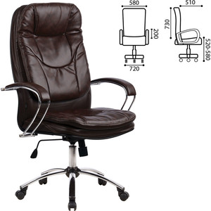 Кресло офисное Метта LK-11CH кожа хром коричневое ш/к 85840