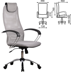 Кресло офисное Метта BK-8CH ткань-сетка хром светло-серое ш/к 80463 офисное кресло profoffice skin сетка кожа белый черный хром сетка кожа полозья