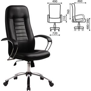 Кресло офисное Метта BK-2CH кожа хром черное ш/к 80013