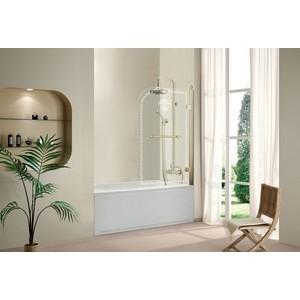 Шторка на ванну Cezares Retro A-V-1-80 прозрачная с рисунком, золото, правая (RETRO-A-V-1-80/145-CP-G-R)