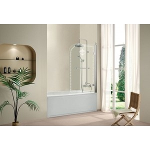 Шторка на ванну Cezares Retro A-V-1-80 прозрачная с рисунком, хром, правая (RETRO-A-V-1-80/145-CP-Cr-R)