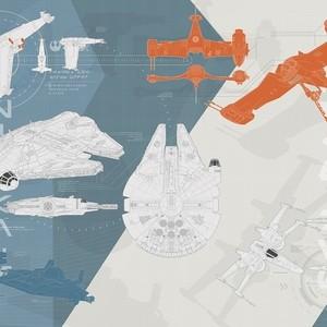 """Фотообои Komar Disney """"Звездные войны: технические чертежи"""" 368х254 см бумажные (8-4001)"""