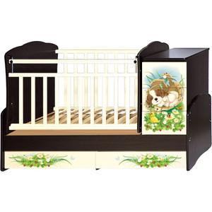 Кроватка трансформер Антел с маятником Щенки Ульяна-1 фигурные спинки слоновая кость/венге