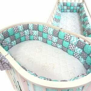 Бортик в кроватку Мама Шила (овал+стандарт) Бомбон молочный с вышивкой (30*360см) УТ000006654