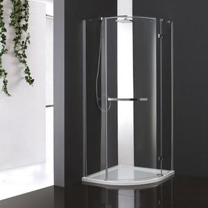 Душевой уголок Cezares BERGAMO-W-R-1-90-ARCO-C-Cr-R-IV правый, с поддоном, профиль хром, стекло прозрачное