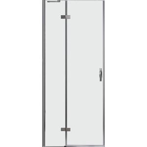 Дверное полотно Cezares BERGAMO-W-60/40-C-Cr-L левая профиль хром, стекло прозрачное