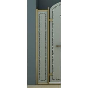 Универсальная боковая панель Cezares RETRO-A-30-FIX-PP-Br профиль бронза, стекло матовое с прозрачным рисунком