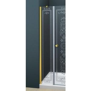 Универсальная боковая панель Cezares ROYAL PALACE-A-100-FIX-CP-G профиль золото, стекло прозрачное с матовым рисунком