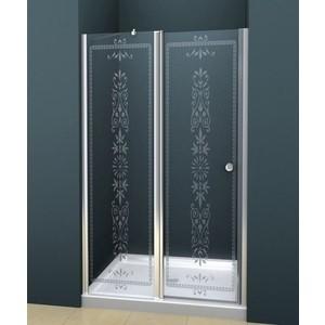 Дверное полотно Cezares ROYAL PALACE-A-60/30-CP-Cr профиль хром, стекло прозрачное с матовым рисунком
