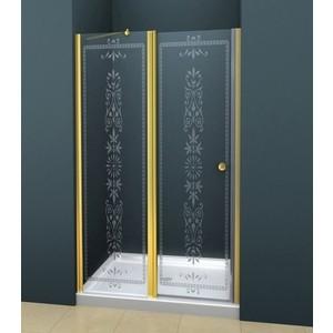 Дверное полотно Cezares ROYAL PALACE-A-60/30-CP-G профиль золото, стекло прозрачное с матовым рисунком