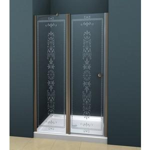 Дверное полотно Cezares ROYAL PALACE-A-60/40-CP-Br профиль бронза, стекло прозрачное с матовым рисунком
