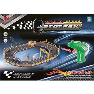 Автотрек 1Toy Ночные гонки, 2 машинки, 2 полосы движения, трасса 180 см (Т10183) цена 2017