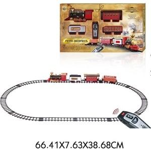 Железная дорога 1Toy Ретро Экспресс, свет,звук, дым, паровоз, 3 вагона, пульт д/у, 16 деталей, длина путей 148х86 см (Т10577) цены