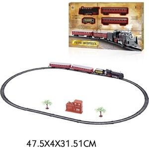 Железная дорога 1Toy Ретро Экспресс , свет,звк, паровоз, 3 вагона, 21 деталь, длина путей 103,5х67,5 см (Т10147)
