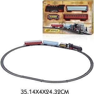 Железная дорога 1Toy Ретро Экспресс , свет,звук, паровоз, 3 вагона, 16 деталей, длина путей 85,5х67,5 см (Т10148)