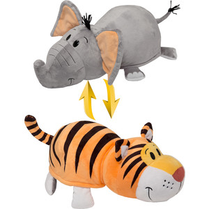 Мягкая игрушка 1Toy Вывернушка 35 см 2в1 Тигр-Слон (Т10876) мягкая игрушка вывернушка 40 см 2в1 тигр черепаха