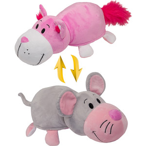 Мягкая игрушка 1Toy Вывернушка 35 см 2в1 Розовый кот-Мышка (Т10928) 1toy мягкая игрушка fifa 2018 1toy волк забивака 28 см