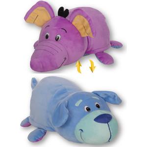 Мягкая игрушка 1Toy Вывернушка 40 см 2в1 Голубой щенок-Фиолетовый слон (Т12334)