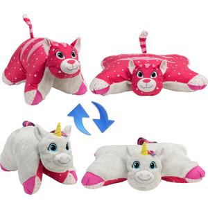 где купить Мягкая игрушка 1Toy Подушка Вывернушка 2в1,Белый Единорог-Розовая Кошечка (Т12040) дешево