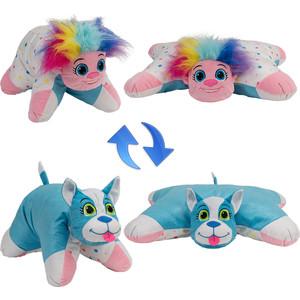 Мягкая игрушка 1Toy Подушка Вывернушка 2в1,Радужный Тролль-Блестящий Щенок (Т12041)