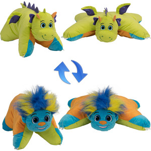 Мягкая игрушка 1Toy Подушка Вывернушка 2в1,Разноцветный Тролль-Салатовый Дракон (Т12044)
