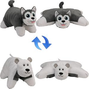 цены Мягкая игрушка 1Toy Подушка Вывернушка 2в1,Хаски-Полярный Медведь (Т12043)