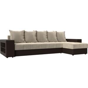 Угловой диван Мебелико Дубай микровельвет бежевый эко кожа коричневый правый угол угловой диван мебелико дубай эко кожа коричневый правый угол