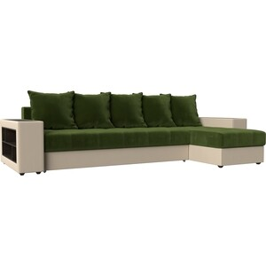 Угловой диван Мебелико Дубай микровельвет зеленый эко кожа бежевый правый угол угловой диван мебелико дубай эко кожа коричневый правый угол