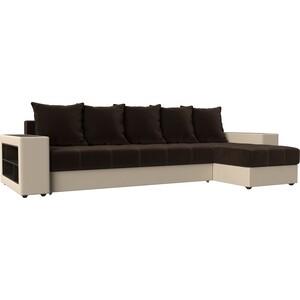Угловой диван Мебелико Дубай микровельвет коричневый эко кожа бежевый правый угол угловой диван мебелико дубай эко кожа коричневый правый угол