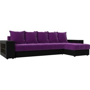 Угловой диван АртМебель Дубай микровельвет фиолетовый эко кожа черный правый угол