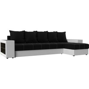 Угловой диван Мебелико Дубай микровельвет черный эко кожа белый правый угол угловой диван мебелико дубай эко кожа коричневый правый угол