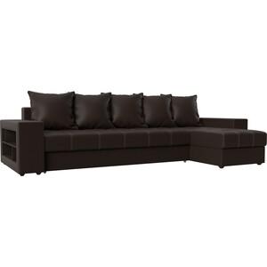 Угловой диван АртМебель Дубай эко-кожа коричневый правый угол диван угловой артмебель брюсель эко кожа коричневый правый угол