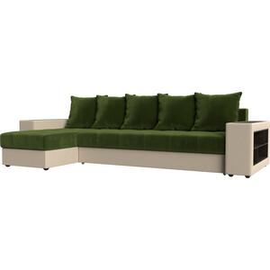 Угловой диван Мебелико Дубай микровельвет зеленый эко кожа бежевый левый угол угловой диван мебелико камелот эко кожа бежевый левый угол