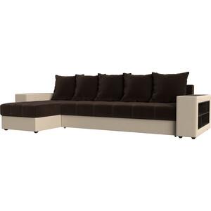 Угловой диван Мебелико Дубай микровельвет коричневый эко кожа бежевый левый угол угловой диван мебелико камелот эко кожа белый левый угол