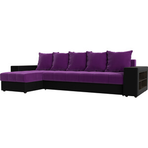 Угловой диван АртМебель Дубай микровельвет фиолетовый эко кожа черный левый угол