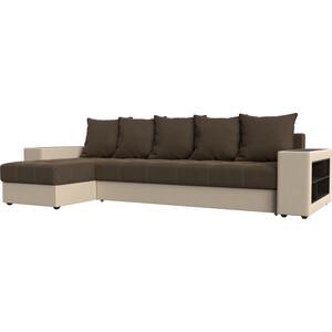 Угловой диван Мебелико Дубай рогожка коричневый эко кожа бежевый левый угол угловой диван мебелико камелот эко кожа белый левый угол