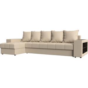 Угловой диван Мебелико Дубай эко-кожа бежевый левый угол угловой диван мебелико валенсия эко кожа бежевый левый угол