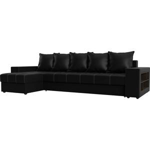 Угловой диван Мебелико Дубай эко-кожа черный левый угол