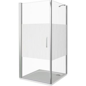 Душевой уголок Good Door Pandora CR 80х80 с поддоном, прозрачный рисунком Тростник, хром
