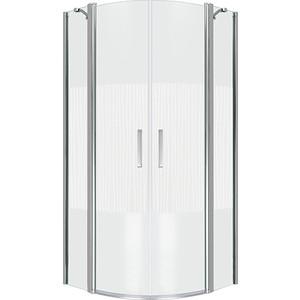 Душевой уголок Good Door Pandora R 100х100 с поддоном, прозрачный рисунком Тростник, хром