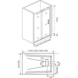 Душевая дверь Good Door Galaxy 140 прозрачная, хром (Galaxy WTW-140-C-CH) запчасти
