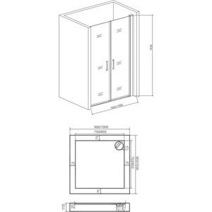 Душевая дверь Good Door Pandora 90 прозрачная, хром (Pandora SD 90*90)