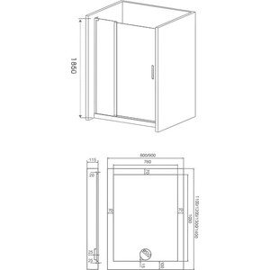Душевая дверь Good Door Pandora 130 прозрачная с рисунком, хром (Pandora WTW-130-T-CH)