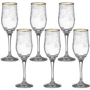 Набор бокалов 6 штук 200 мл М-Декор Акация гравировка отводка золото (1712-ГЗ) гравировка