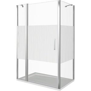 Душевой уголок Good Door Pandora 140х90 с поддоном, прозрачный рисунком Тростник, хром