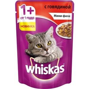 Паучи Whiskas Мини-филе с говядиной для кошек 85г (10165911)