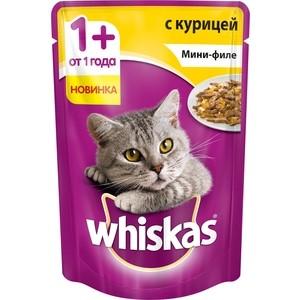 Паучи Whiskas Мини-филе с курицей для кошек 85г (10165913)