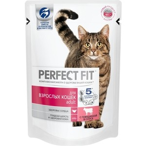 Паучи PERFECT FIT Adult с говядиной в соусе для взрослых кошек 85г (10163733)