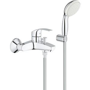 Смеситель для ванны Grohe Eurosmart 2015 с душевым гарнитуром (3330220A) набор смесителей для ванны grohe eurosmart с душевым гарнитуром хром 124446
