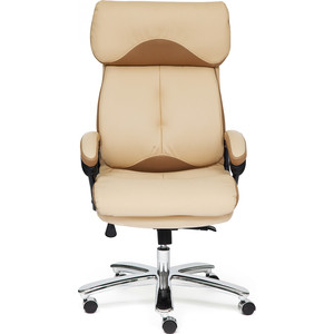Кресло TetChair GRAND кож/зам/ткань бежевый/бронзовый 36-34/21